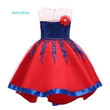 Купить с кэшбэком JaneyGao Flower Girl Dresses Children Party Dress Princess Gown Front Short Long Back Short Trailing Little Girl Dress Cute