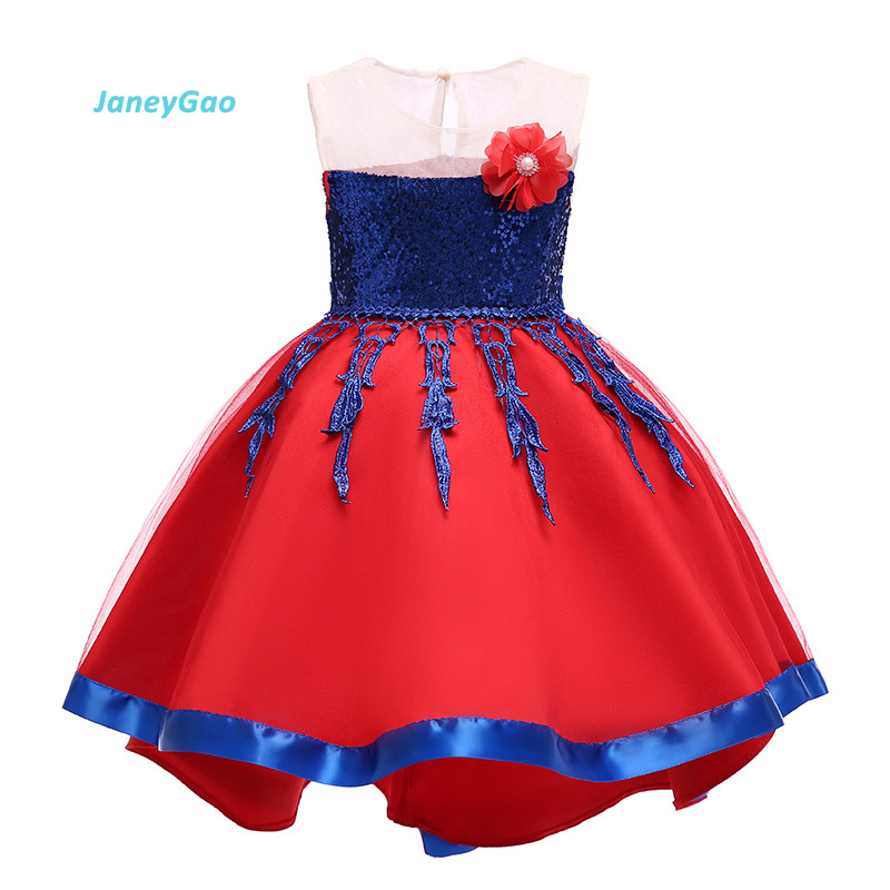 JaneyGao   Flower     Girl     Dresses   Children Party   Dress   Princess Gown Front Short Long Back Short Trailing Little   Girl     Dress   Cute