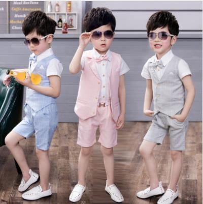 2pcs Sets Summer Wedding Suits Of Boys Children Formal Prom Party Dress Graduation Kids Boy Tuxedo Shirts Waistcoat Shorts Suit