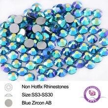 Glass Strass Blue Zircon AB SS3 To SS30 288-1440pcs Non Htfix Nail Art Rhinestones DIY Accessories