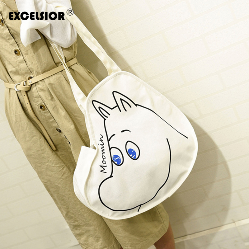EXCELSIOR2016 New Fashion Canvas Women Casual Tote Cartoon Moomin Printed Large Capacity Women Shopping Bag Single Shoulder Bags maison jules new blue women large l umbrella printed surplice jumpsuit $79 059