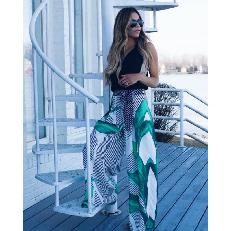 Girl Print   Wide     Leg     Pants   Women Long Casual   Pant   2018 Summer Boho Beach Elastic High Waist Chiffon Trousers