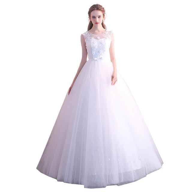 White Red Wedding Dress Bride Married Floor Length Princess Simple Women High Waist Plus Size Vestidos De Novia Dresses