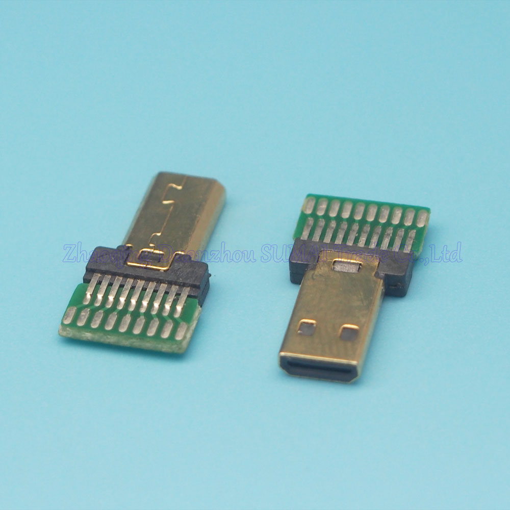Free shipping 10pcs/lot gold-plating HDMI male D Type19Pin socket connector jack with PCB board