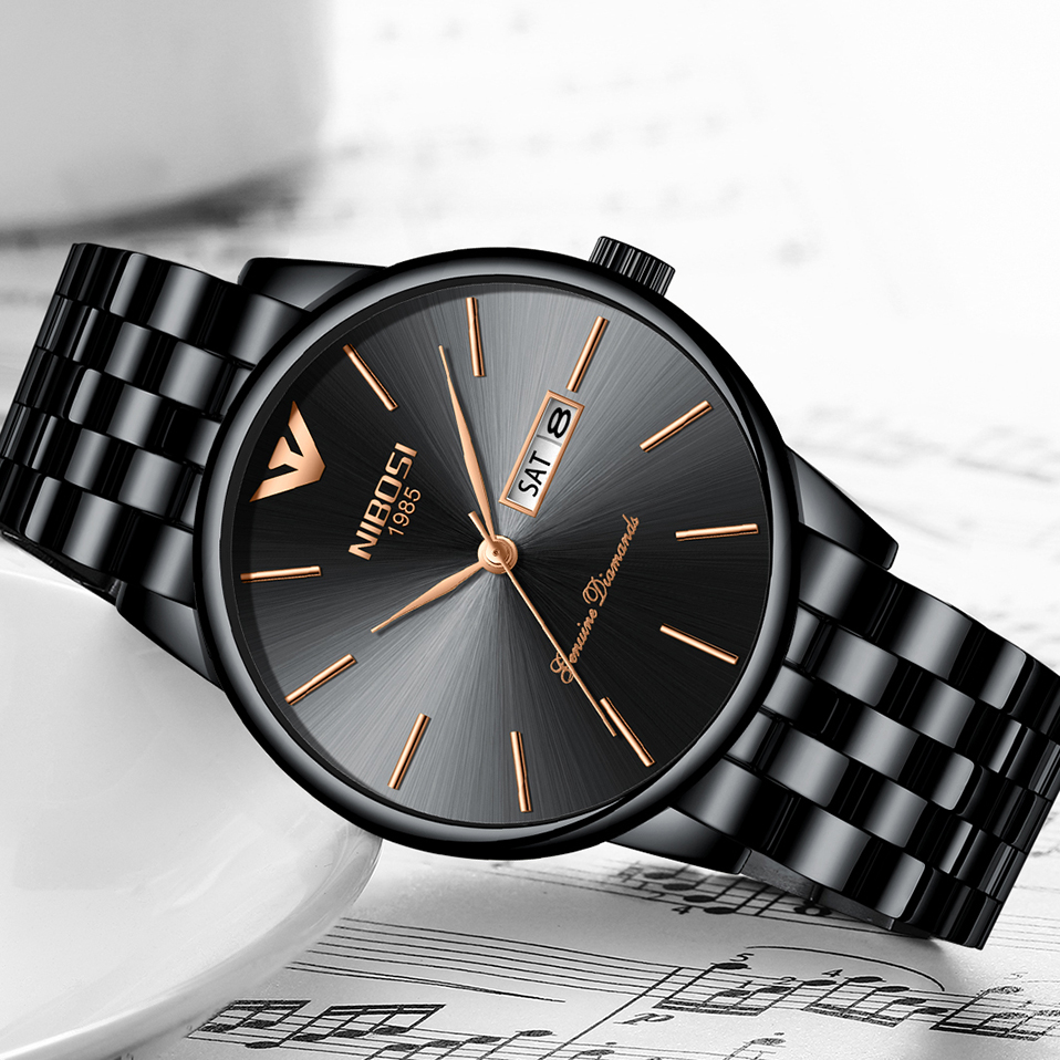 NIBOSI Luxury Brand Men Fashion Quartz Watch Men Full Steel Band Business Waterproof Wristwatch Relogio Masculino relojes hombre 2018 nibosi dress brand watch men waterproof men s quartz watch business analog wristwatch stainless steel saat