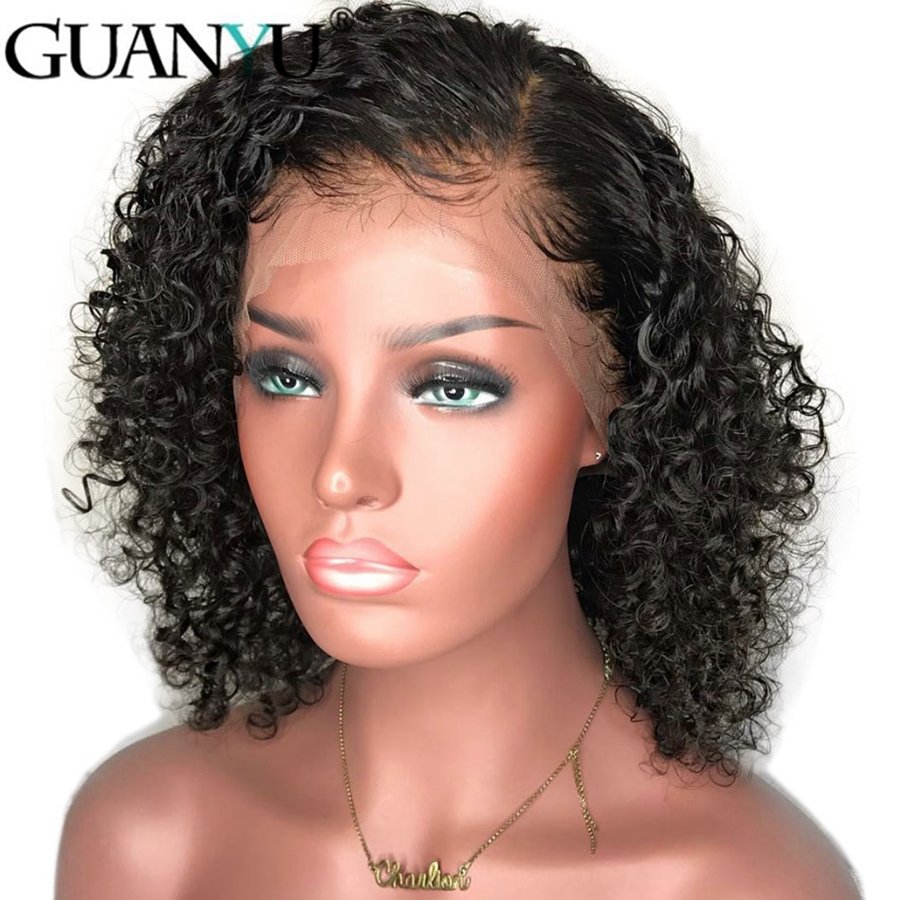 Curly Lace Front Brazilian Remy Human Hair Wigs Pre Plucked With Baby Hair Short Bob Wigs