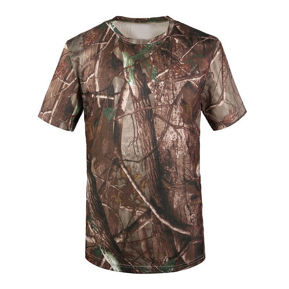 JHO-Nieuwe Outdoor Jacht Camouflage T-shirt Mannen Ademend Army Tactische Combat T-shirt Militaire Droge Sport Camo Camp Tees