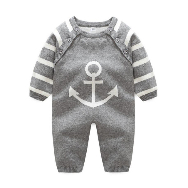 0ecfc8256 1PC Baby Girl Red Deer Bodysuit Long Sleeve Comfortable Baby Boy Anchor  Outfit Jumpsuit Infant Sweater Knitted Cotton Clothes