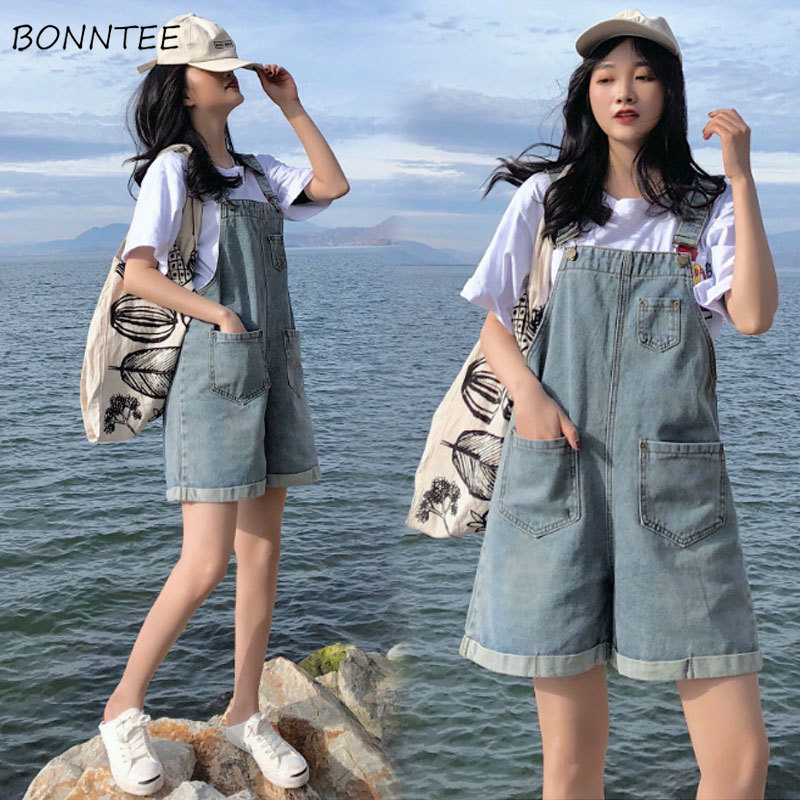 Rompers Women Straight-Pockets Korean-Style Denim Summer Chic Simple Harajuku Loose Daily