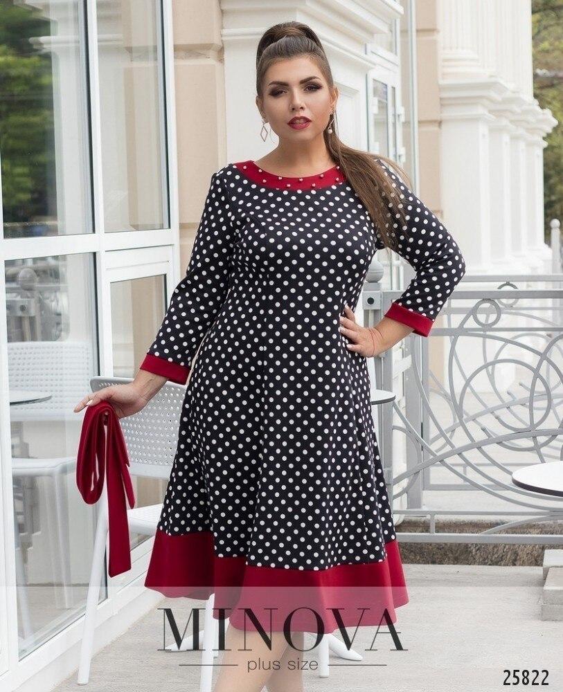 Black Polka Dot Women Dress Plus Size Winter Party Dress Vintage C...