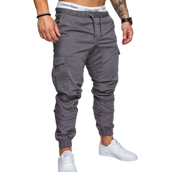 Solid Multi-pocket Joggers Pants 1
