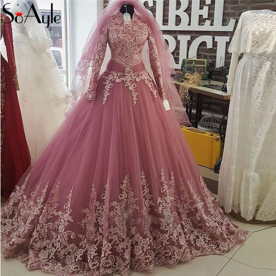 soayle high neck langarm muslimischen abendkleider ballkleid lange spitze  prom kleider 2018 saudi-arabien frauen formale partei kleid