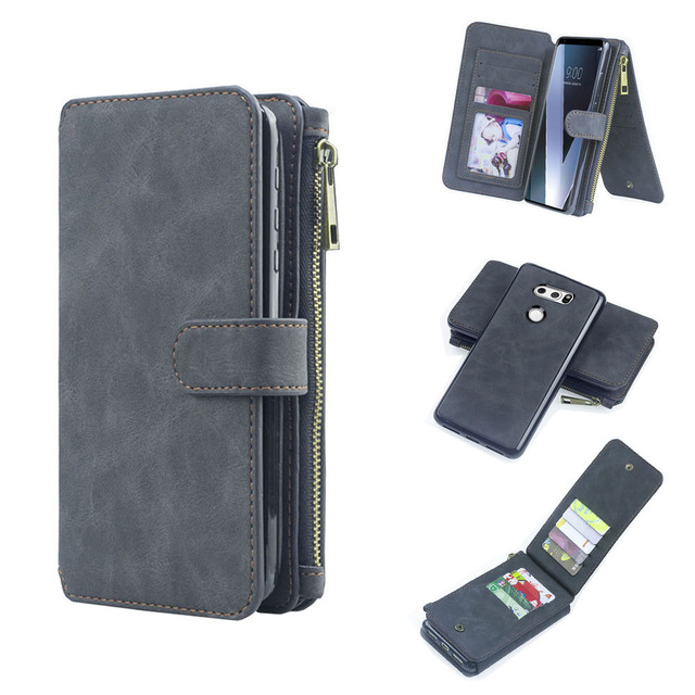 new product 167f5 800f2 US $14.99 |Wallet Case for Galaxy A8 2018 Detachable Magnetic Flip Cover  with 12 Card Holders Cash Pocket Leather Case -in Wallet Cases from ...