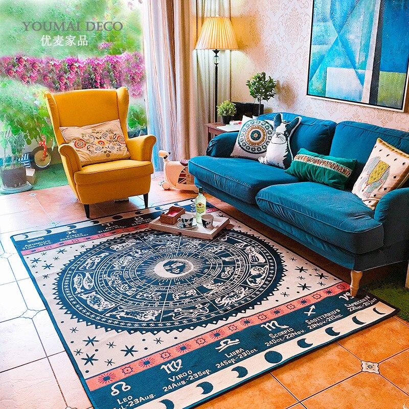 Hot Constellation Large Carpet Modern Cotton And Linen  Living Room Bedroom Mat  Dark Blue Rug Hot Constellation Large Carpet Modern Cotton And Linen  Living Room Bedroom Mat  Dark Blue Rug