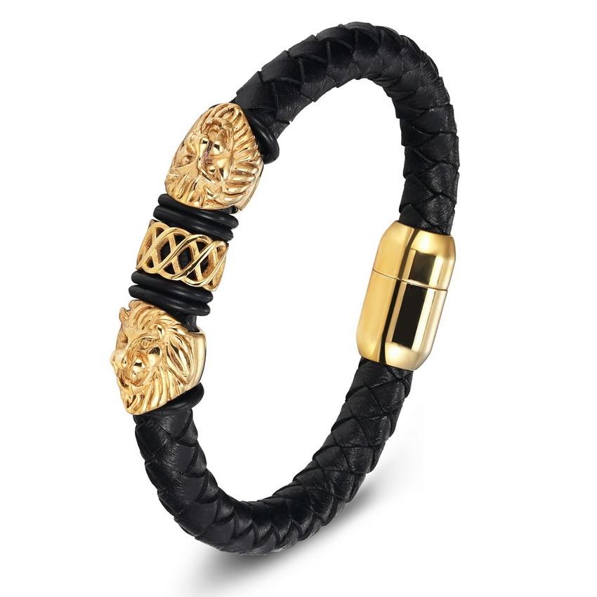 Gold Genuine Leather Stainless Steel Bracelets For Women Bracelets & Bangles Trendy Men Jewelry Fashion Charm Leather Bracelet 4