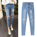 2017 Novo Estilo Moda Verão Mulheres Jeans rasgado Buracos boyfriend jeans para as mulheres Harem Pants calças de Brim Magros do vintage