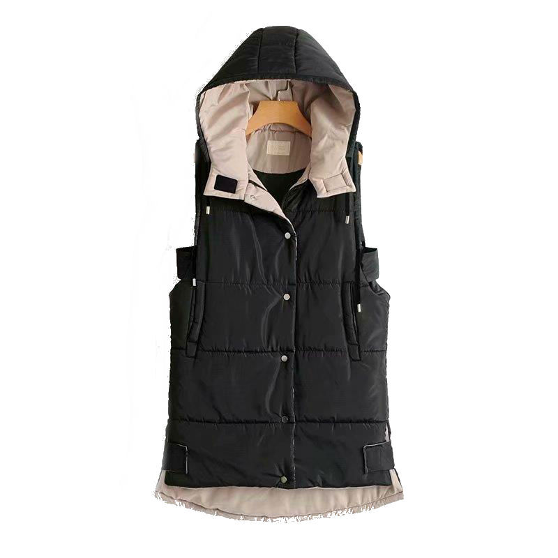 e5d3e084075 Mujeres de invierno chaleco chaqueta sin mangas con capucha Casual negro  largo abrigo chaleco mujer giubbotto donna negro chaleco bolsillo polly en  Chalecos ...