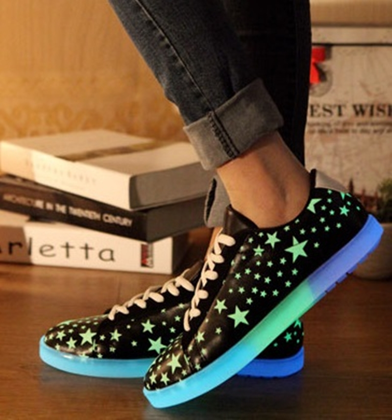 2017 Luminous Shoes Fluorescence Star Light Up Glowing Adults Lover Men  Leather Footwear zapatos mujer LSA3530