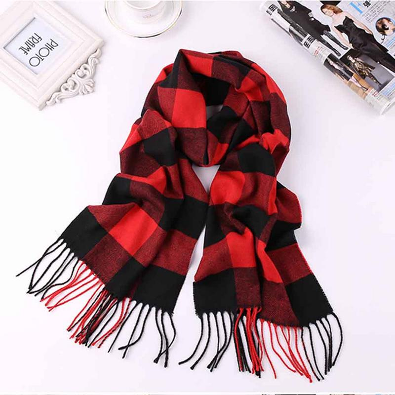 Winter Cashmere Scarf Men's Scarf Women's Thickened Winter Warm British Plaid Comfortable Tassel Long Scarves Wraps Long Size