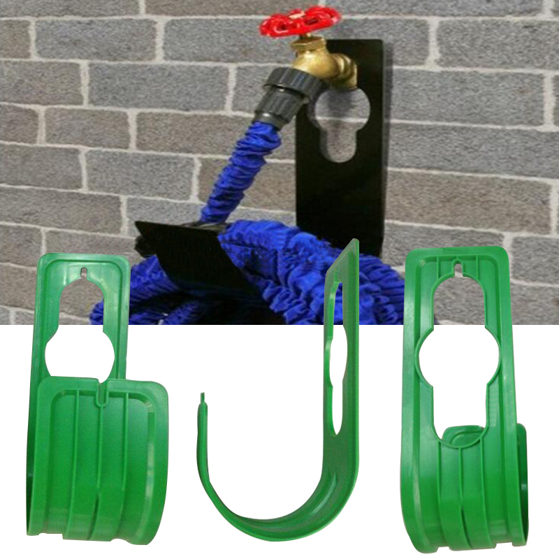 Plastic Wall Expanding Flexible Hose Pipe Holder Rack Garden Home Hosepipe Water Gun Hanger Garden Supplies Green