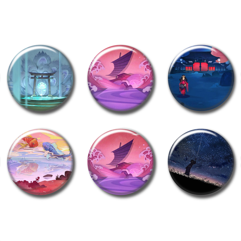 58MM Onmyoji Cosplay Anime Badge Button Pin Brooch Badges backpacks  cosplay Small Xmas Toy Brooch Button8 06