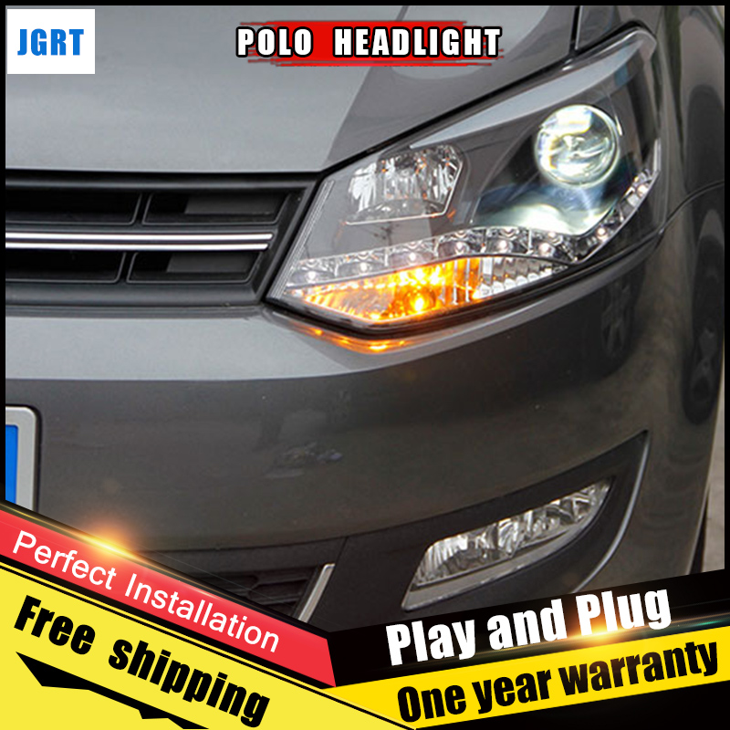 2PCS Car Style LED headlights for vw Polo 2011-2013 for Polo head lamp LED DRL Lens Double Beam H7 HID Xenon bi xenon lens hireno headlamp for 2013 2015 nissan tiida headlight assembly led drl angel lens double beam hid xenon 2pcs