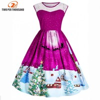Christmas Lace Insert Sleeveless Party Dress Women 2017 Cute 1950s Winter Vintage Robes Femme Plus Size