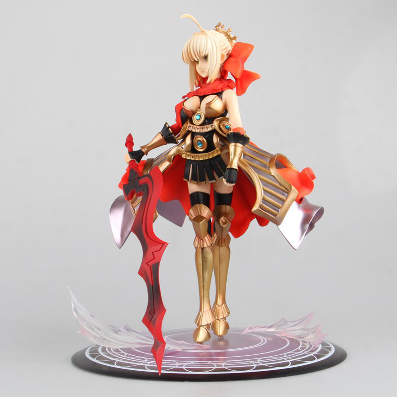 26cm Fate Stay Night Red Saber Figure Armour Red Saber Lily PVC Acton Figures Toy Brinquedos Gift fate stay night fate extra red saber pvc figure toy anime collection new