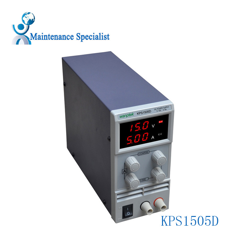 ФОТО KPS1505D Adjustable High precision double LED display switch DC Power Supply protection function 15V5A 110V-230V 0.1V/0.01A EU