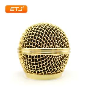 Image 3 - 2pcs מיקרופון כדור רשת סורג Beta58 SM 58 מיקרופון אביזרי כדור ראש החלפת אבזר אלקטרוליטי זהב צבע