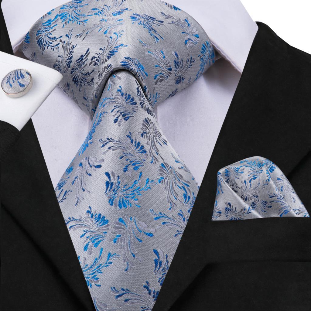 20 Styles Party Wedding Classic Fashion Pocket Square Tie New Floral Mens Tie Grey Woven 8.5cm Silk Necktie Handkerchief Set