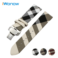Grid Pattern Calf Leather Watchband For Omega Maurice Lacroix Mido Watch Band Steel Buckle Wrist Strap