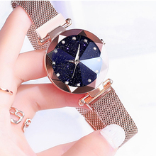 Luxury ladies watch magnetic stainless steel mesh with starry fashion diamond female luminous shining quartz relogio femin