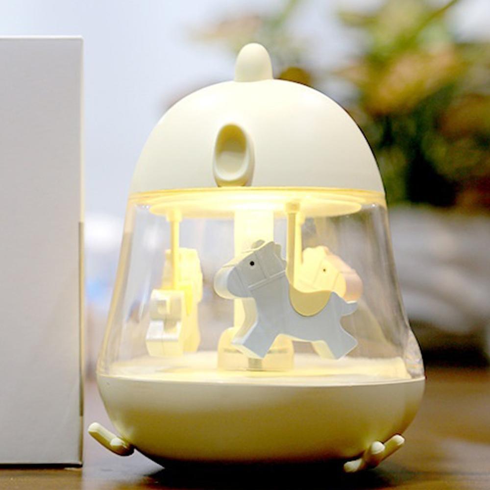 Carrousel lumière veilleuse lampe de chevet Usb tactile Table lampe musique lumière unisexe Silicone carrousel boîte décoration de la maison