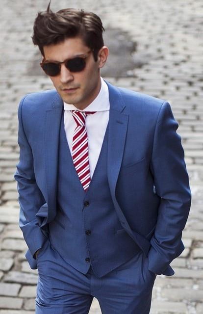 2018 button custom suit, blue groom dress, wedding / Groom wear ...