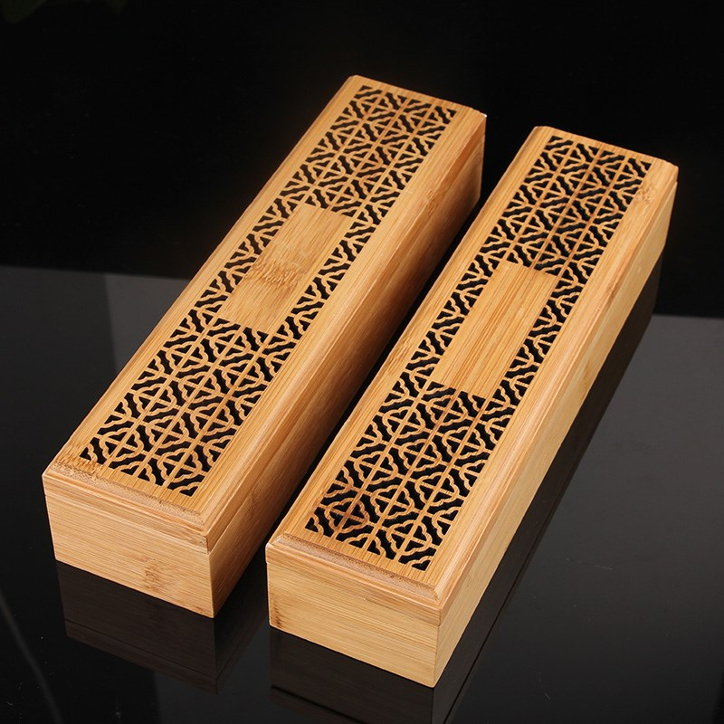 Bamboo Zen Incenso Burners Incense Holder Double Drawer Joss stick Box Lying Censer Classical Hollow Antique