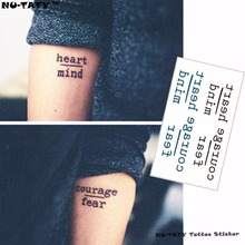 Nu-TATY Small Letter Flash Tattoo Hand Sticker 10.5x6cm Waterproof Henna Beauty Style Temporary Body