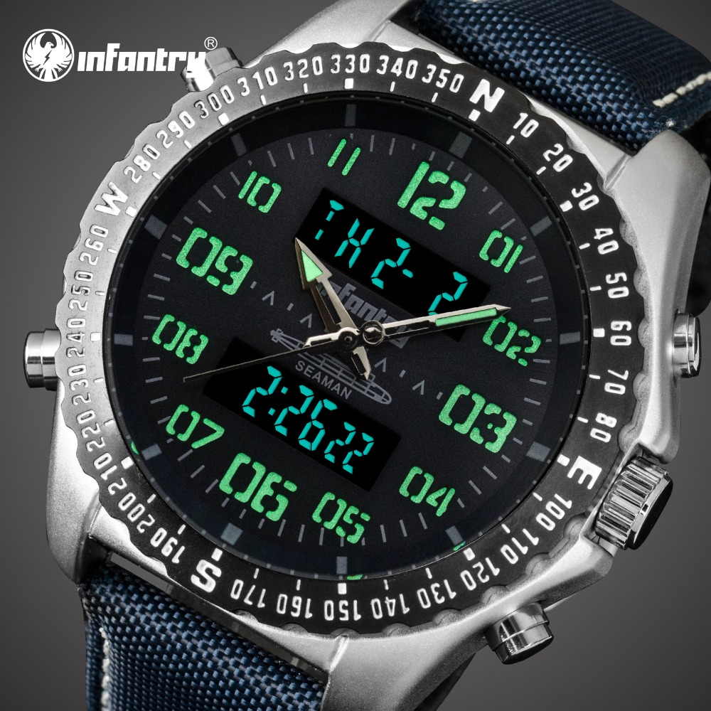 7681fc2d031 INFANTARIA Mens Relógios Top Marca de Luxo Relógio Militar Analógico  Digital Homens Piloto Tático Campo Relógios para Homens Relogio masculino