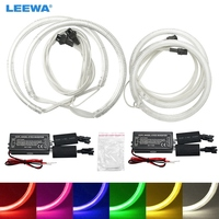 LEEWA 2X100MM 2X131MM Special Car CCFL Halo Rings Angel Eyes LED Headlights for Ford Focus 08+ DRL White #CA3086