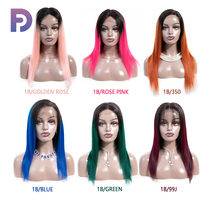 Ombre Human Hair Wig 1B/Bule Green 99J 30 Rose Pink 4x4 Straight Lace Front Wigs 2 Tone Non Remy Human Hair Can Make Baby Hair