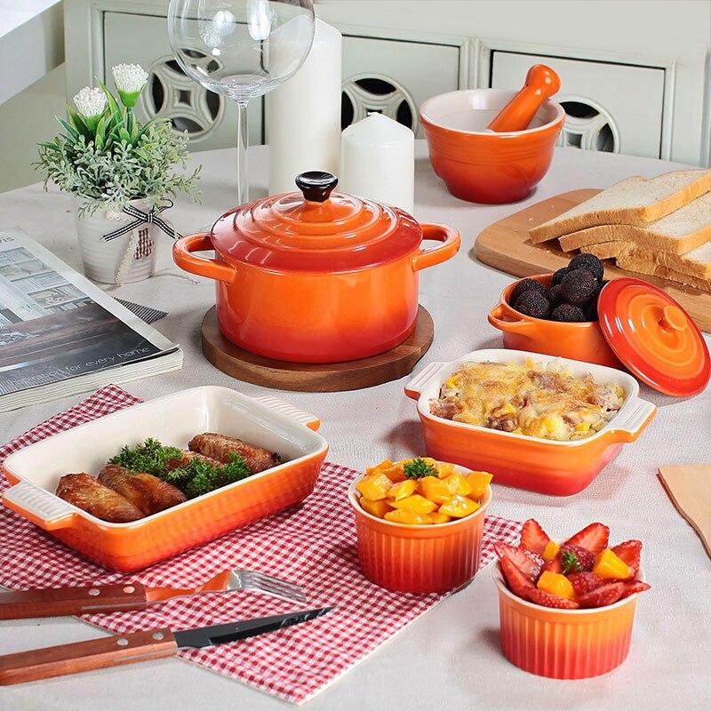 Gradient Ramp Bakeware Set Ceramic Bowl Plate Rectangle Bake Pan Food Tray Baking Cheese Baked Bowl