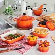 Gradient Ramp Bakeware Set Ceramic Bowl Plate Rectangle Bake Pan Food Tray Baking Cheese Baked Bowl Pasta Plates Comal 5pcs