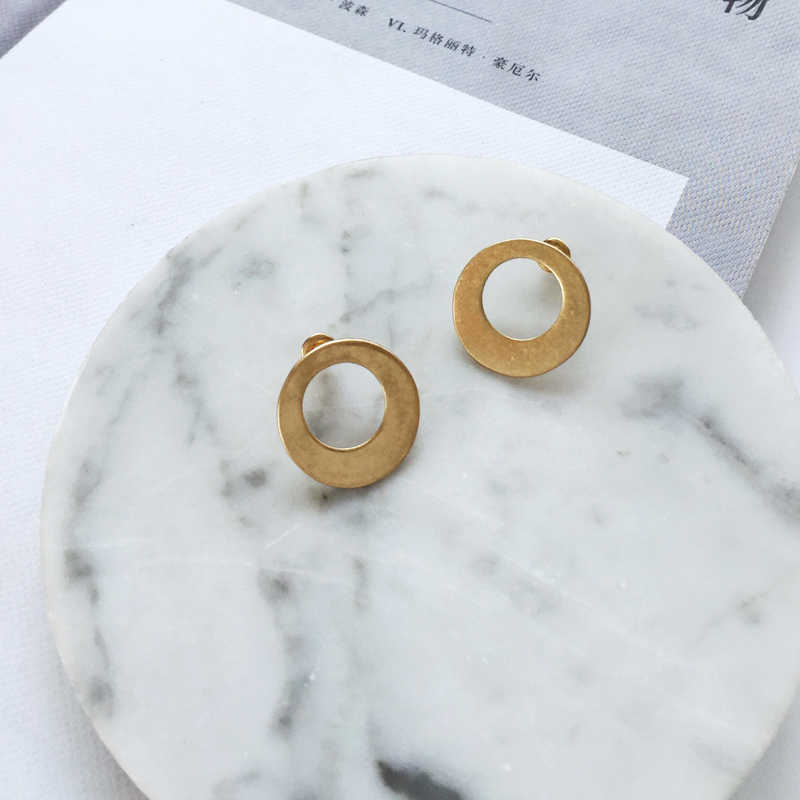 Europe And America Simple temperament Geometric Circular Triangle Pendant Earring For Woman