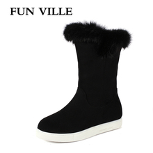 цены FUN VILLE New Fashion Winter Women's Snow Boots Fur Warm Ankle Boots Flock Thick Platform Boots Round Toe Flats shoes Women
