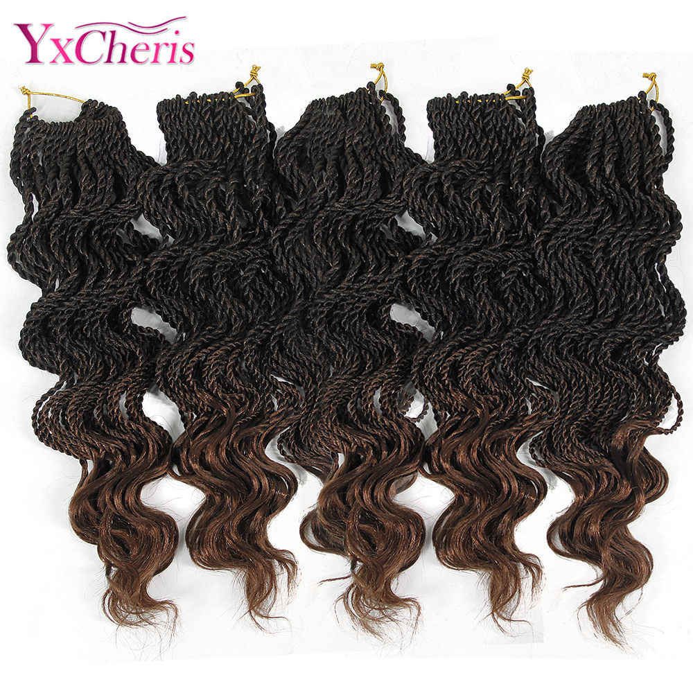 YxCherisHair Crochet Braids 30 Strands Ombre Synthetic Crochet Braiding Hair Extensions  18 Inch Curly Senegalese Twists