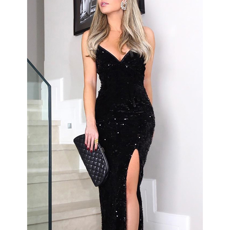 Sleeveless long sequin dress Women high slit spaghetti strap dresses Sexy V neck club party dress Maxi black sequined vestidos 4