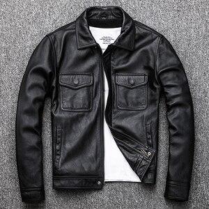 Image 2 - Maplesteed jaqueta de couro vintage masculina, casaco de couro vintage preto de panturrilha natural, vermelho, marrom, outono 100% m141