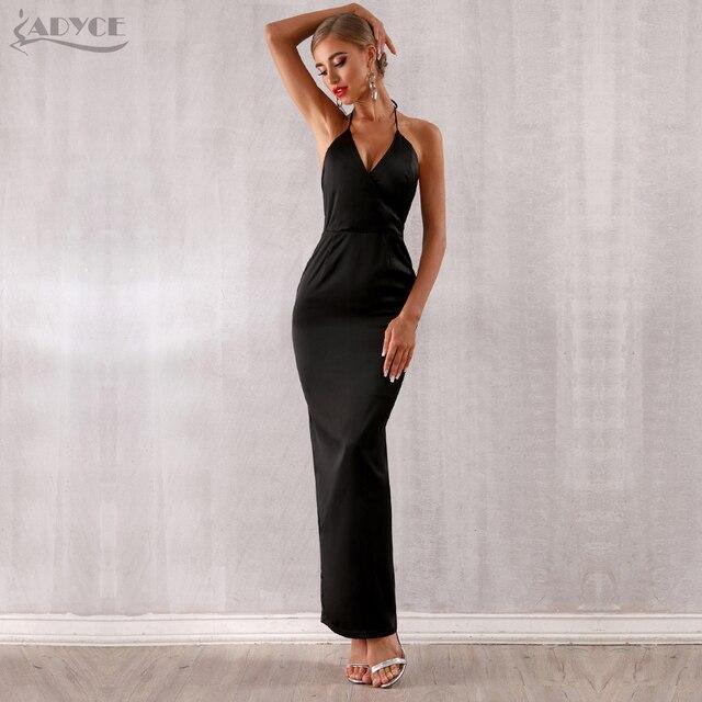 Adyce 2019 New Summer Maxi Celebrity Evening Party Dress Women Vestidos Halter Sexy V Neck Backless Sleeveless White Club Dress 3