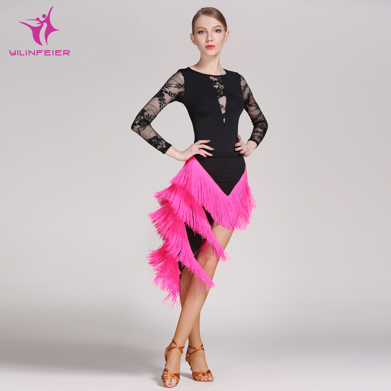 YILINFEIER GB015 and YL290 Latin Dance Top and Skirt Suits Dance Dress Ballroom Costume Leotard Women Lady Evening Party Dress