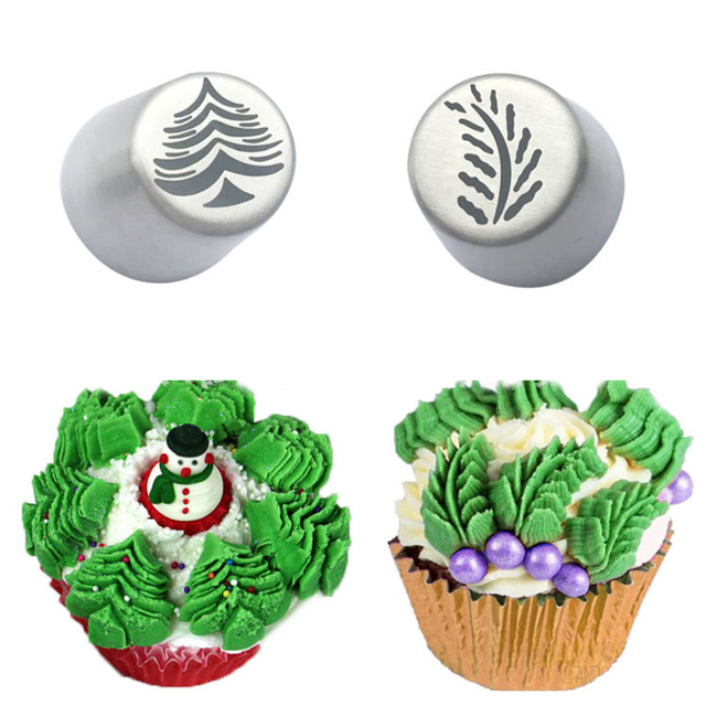 Russian Nozzle Christmas Tree Leaves Stainless Steel Piping Tips Christmas Decoration Pastry Nozzles Cake Decorating Tools